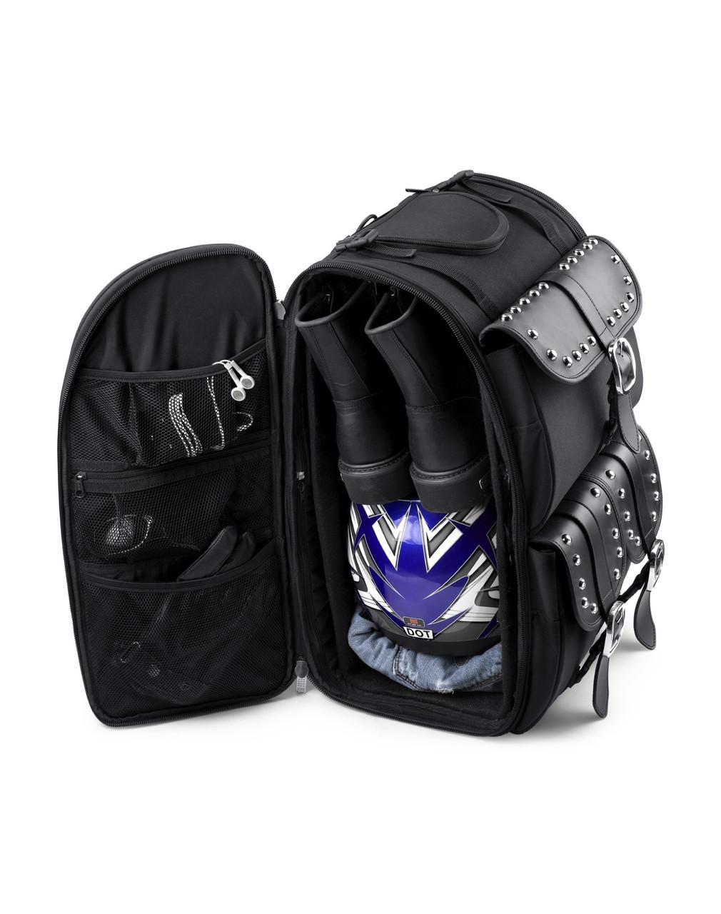 Suzuki Viking Extra Large Studded Motorcycle Sissy Bar Bag Storage View