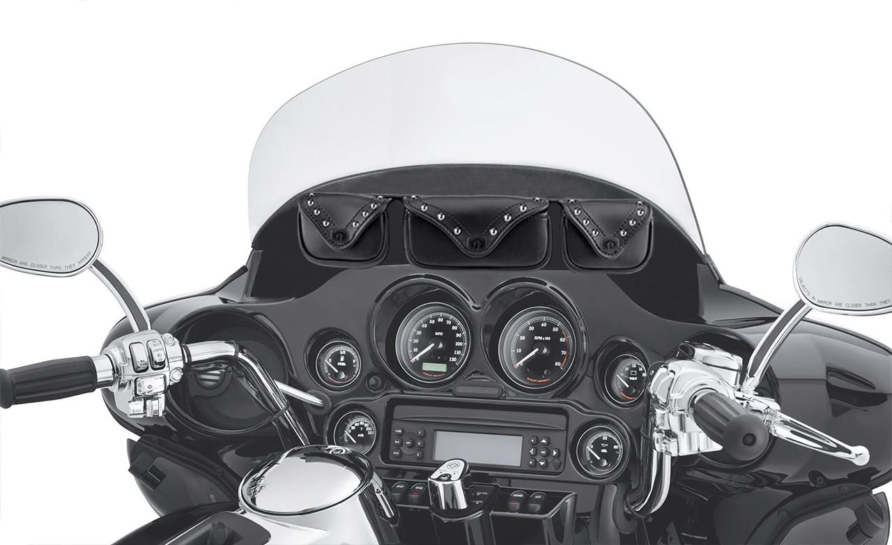Kawasaki Viking Trianon Studded Motorcycle Windshield Bag on Bike View