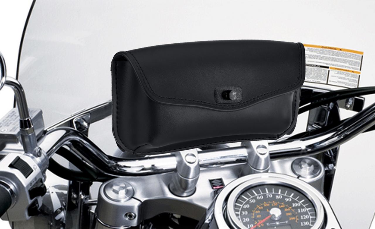 Kawasaki Revival Series Motorcycle Windshield Bag on Bike View