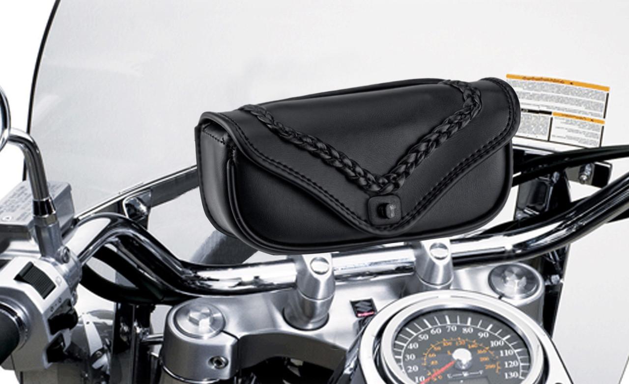 Suzuki Viking Braided Motorcycle Windshield Bag On Bike View