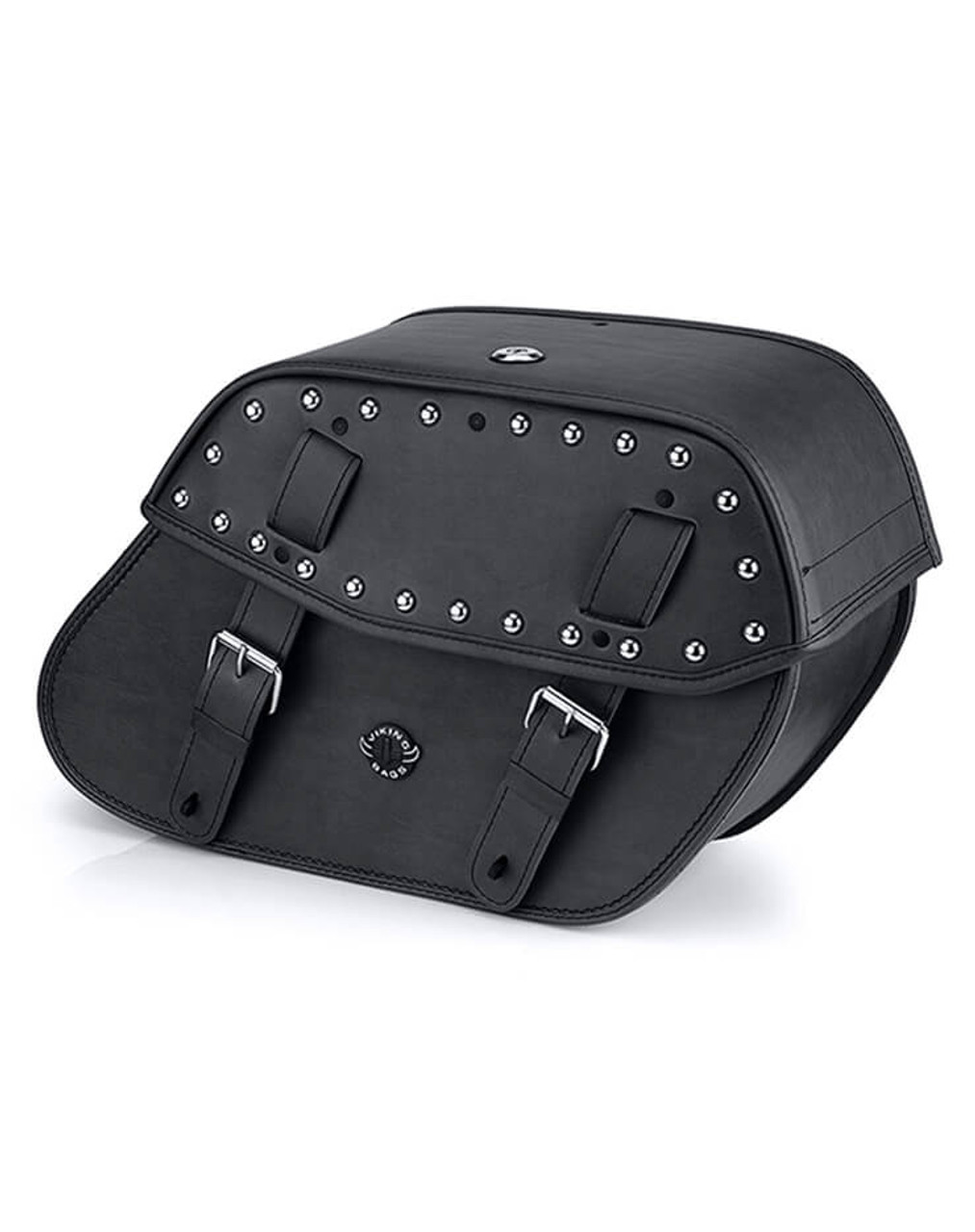 Viking Odin Studded Large Leather Motorcycle Saddlebags For Harley Softail Custom FXSTC Main Bag View