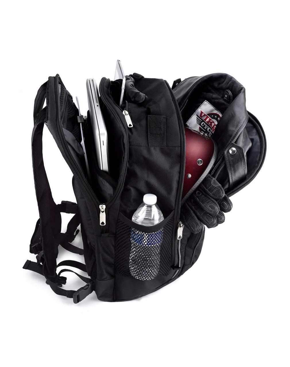 Viking Medium Black Street/Sportbike Sissy Bar Backpack Storage View