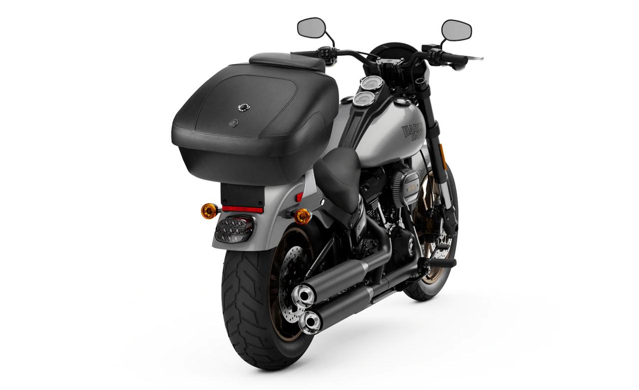 Yamaha Viking Premium Leather Wrapped Hard Trunk Bag On Bike View