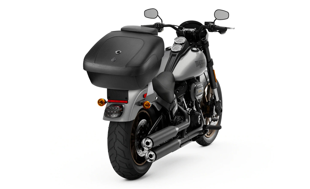 Suzuki Viking Premium Leather Wrapped Hard Trunk Bag On Bike View
