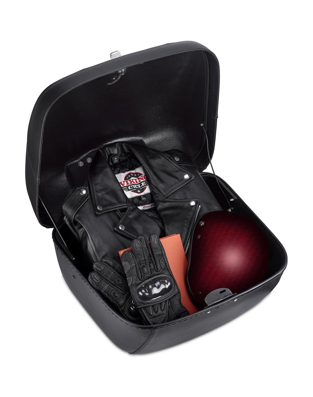Suzuki Viking Premium Leather Wrapped Hard Trunk Storage View