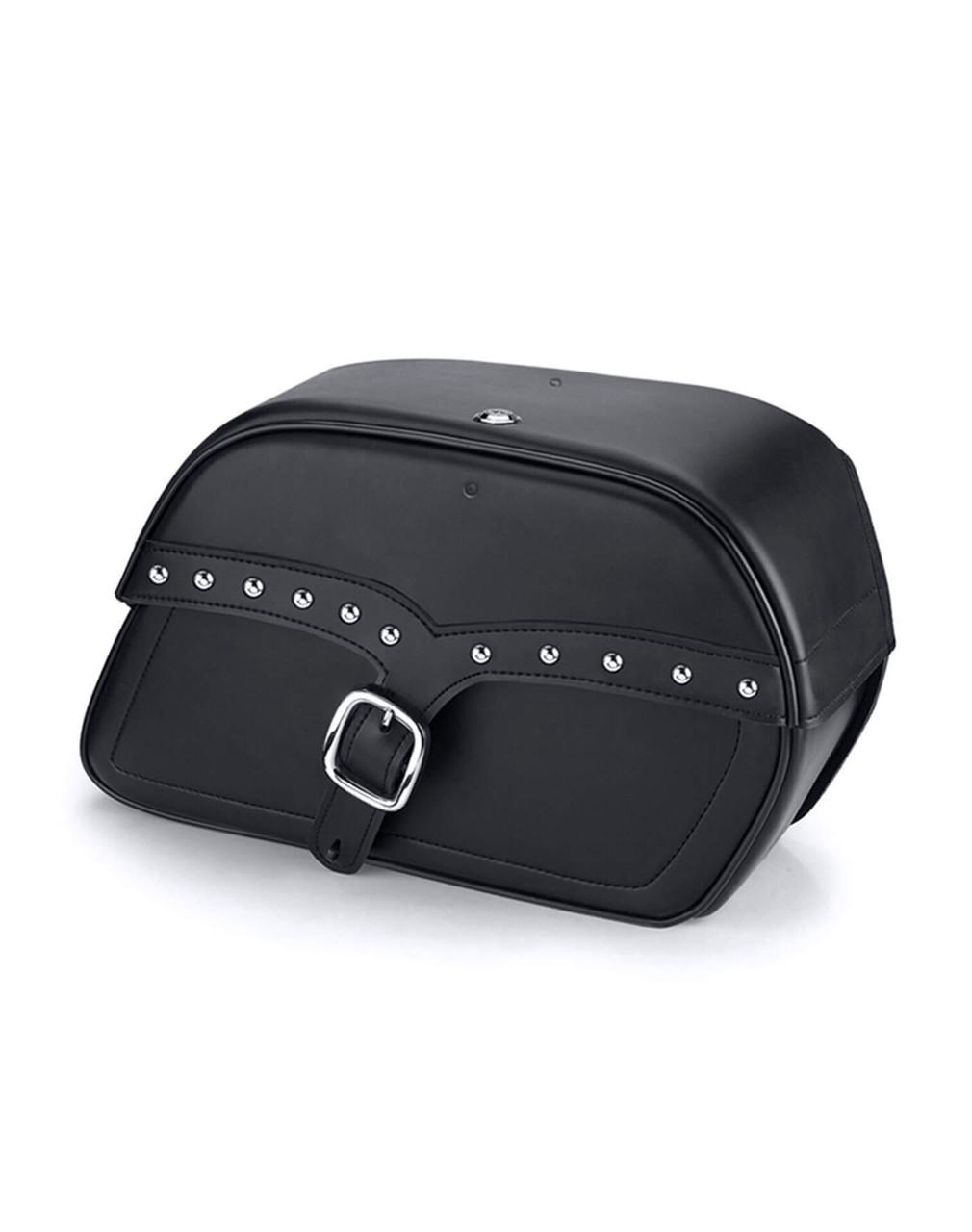 Honda 1100 Shadow Aero Charger Medium Single Strap Studded Motorcycle Saddlebags Main Bag View