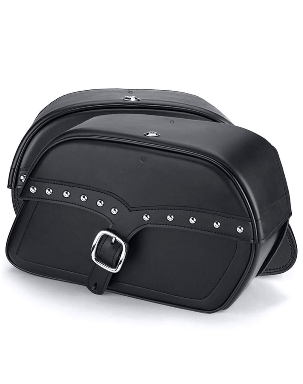 Honda 1100 Shadow Aero Charger Medium Single Strap Studded Motorcycle Saddlebags Both Bags View