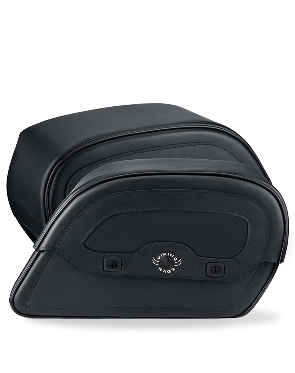 Honda VTX 1800 N Warrior Slanted Large Leather Motorcycle Saddlebags Both Bags View