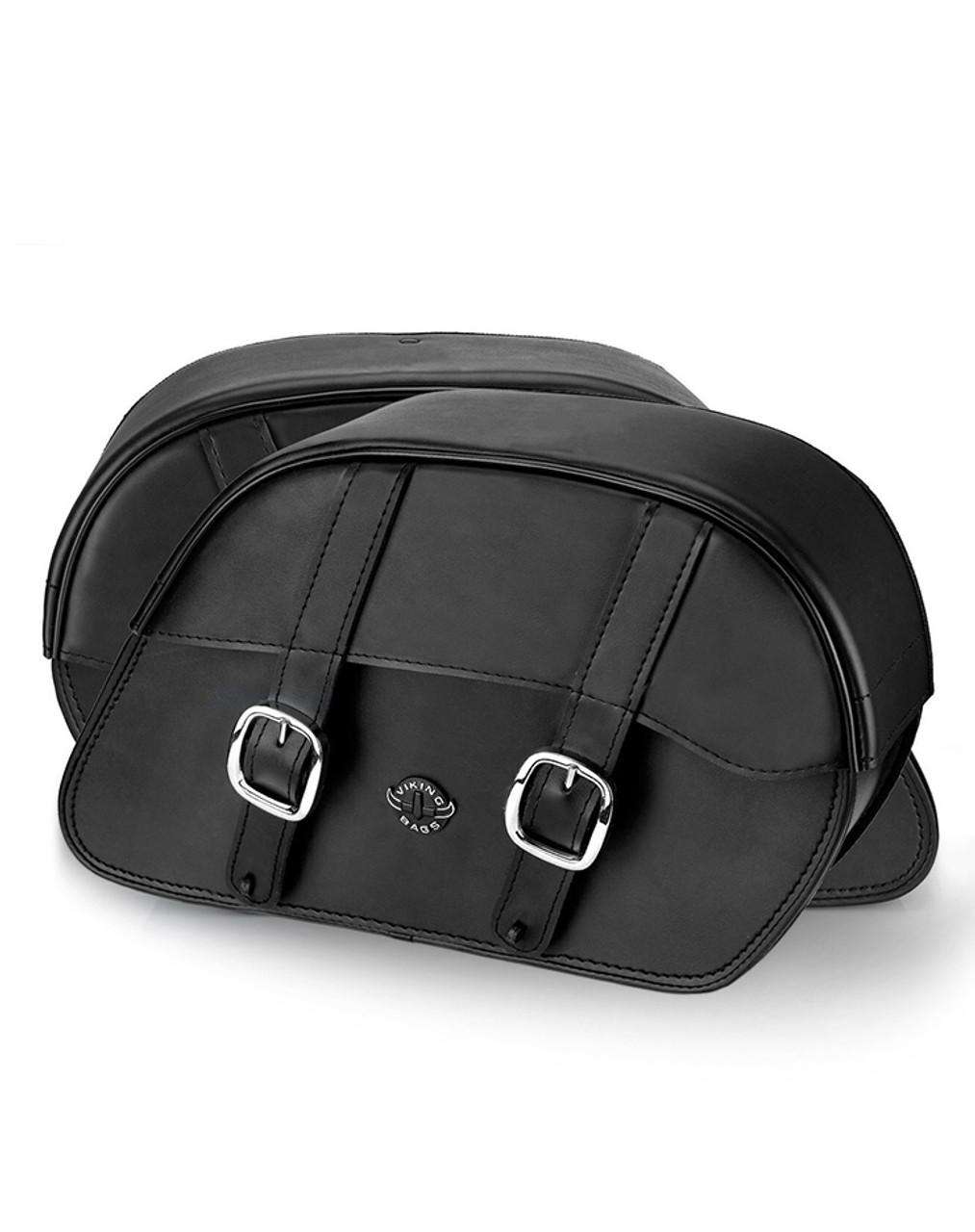 Honda VTX 1800 R (Retro) Medium Plain Slanted Motorcycle Saddlebags Both Bags View