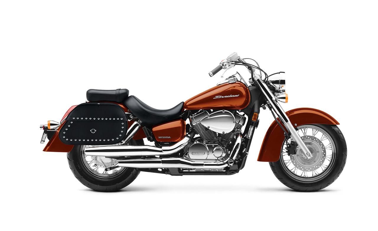 Honda 1100 Shadow Aero Hammer Series Extra Large Studded Motorcycle Saddlebags Bag On Bike View