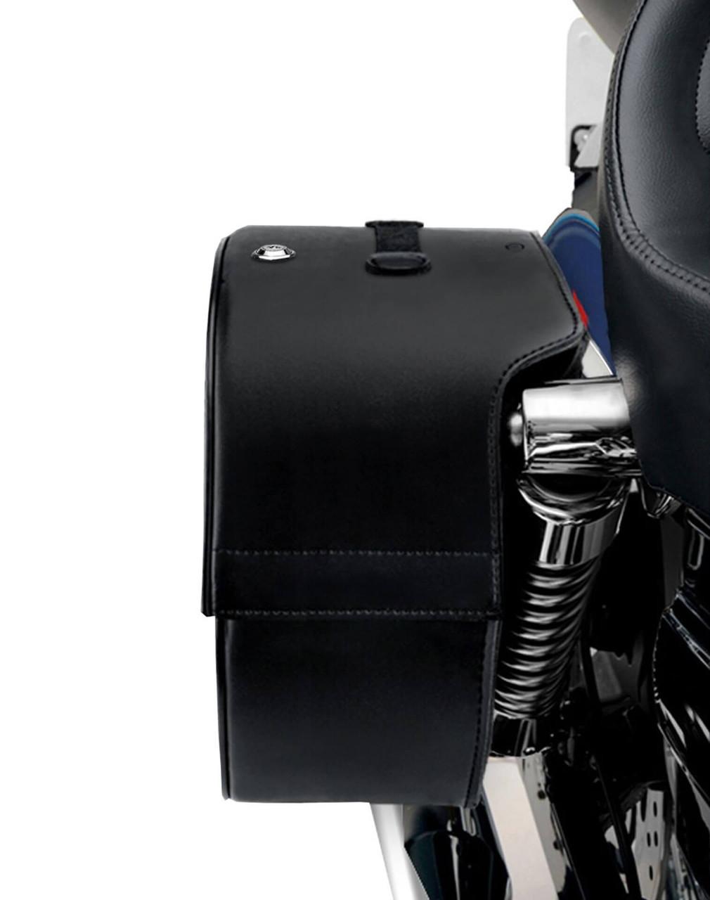 Honda 1100 Shadow Aero Viking Spear Studded Shock Cutout Large Leather Motorcycle Saddlebags Shock Cutout View