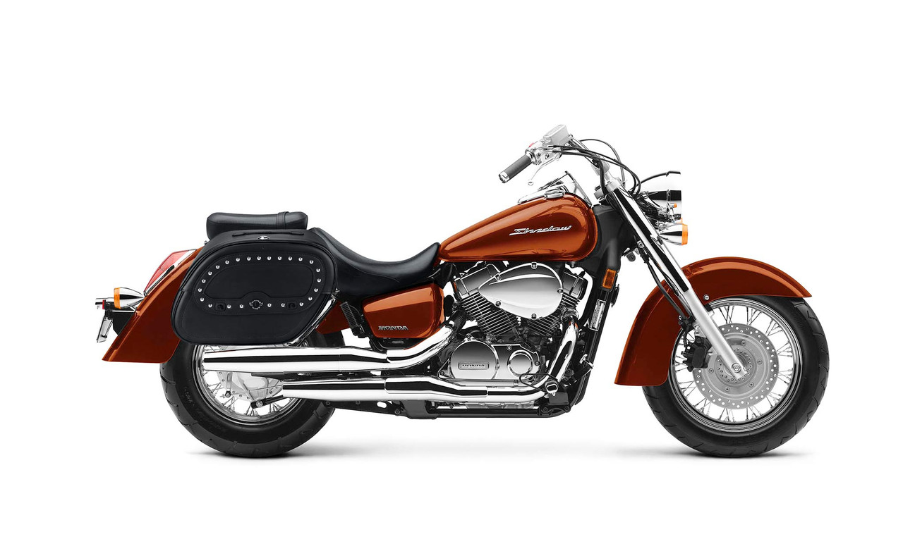 Honda 1100 Shadow Aero Viking Spear Studded Shock Cutout Large Leather Motorcycle Saddlebags Bag On Bike View