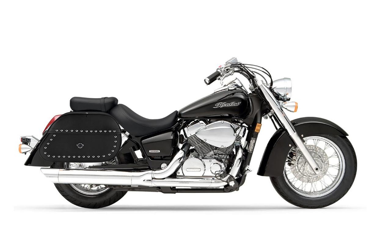 Honda 750 Shadow Aero Hammer Series Extra Large Studded Motorcycle Saddlebags Bag ON Bike View