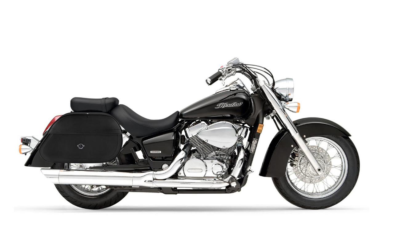Honda 750 Shadow Aero Hammer Series Extra Large Plain Motorcycle Saddlebags Bag On Bike View