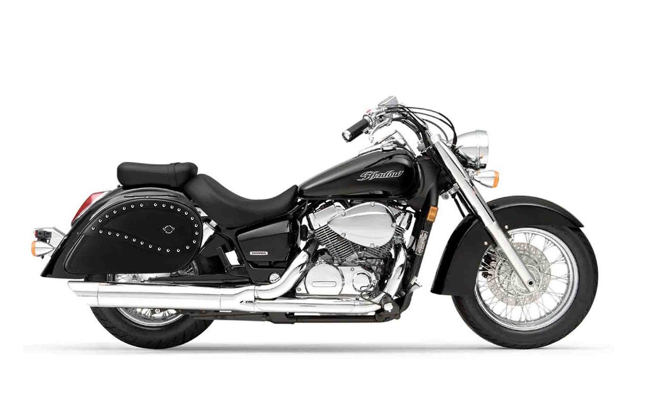 Honda 750 Shadow Aero Ultimate Large Studded Motorcycle Saddlebags Bag on Bike View