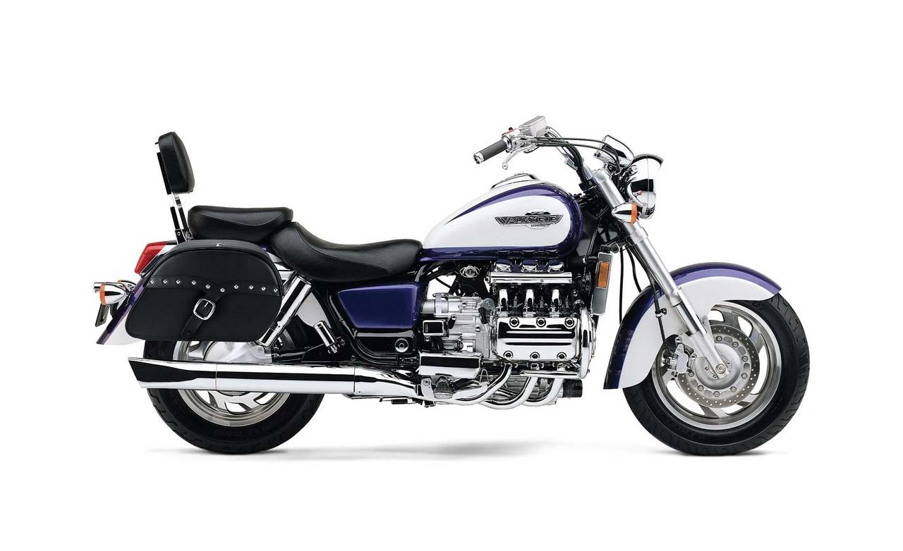 Honda 1500 Valkyrie Interstate Charger Medium Single Strap Studded Motorcycle Saddlebags Bag on Bike View