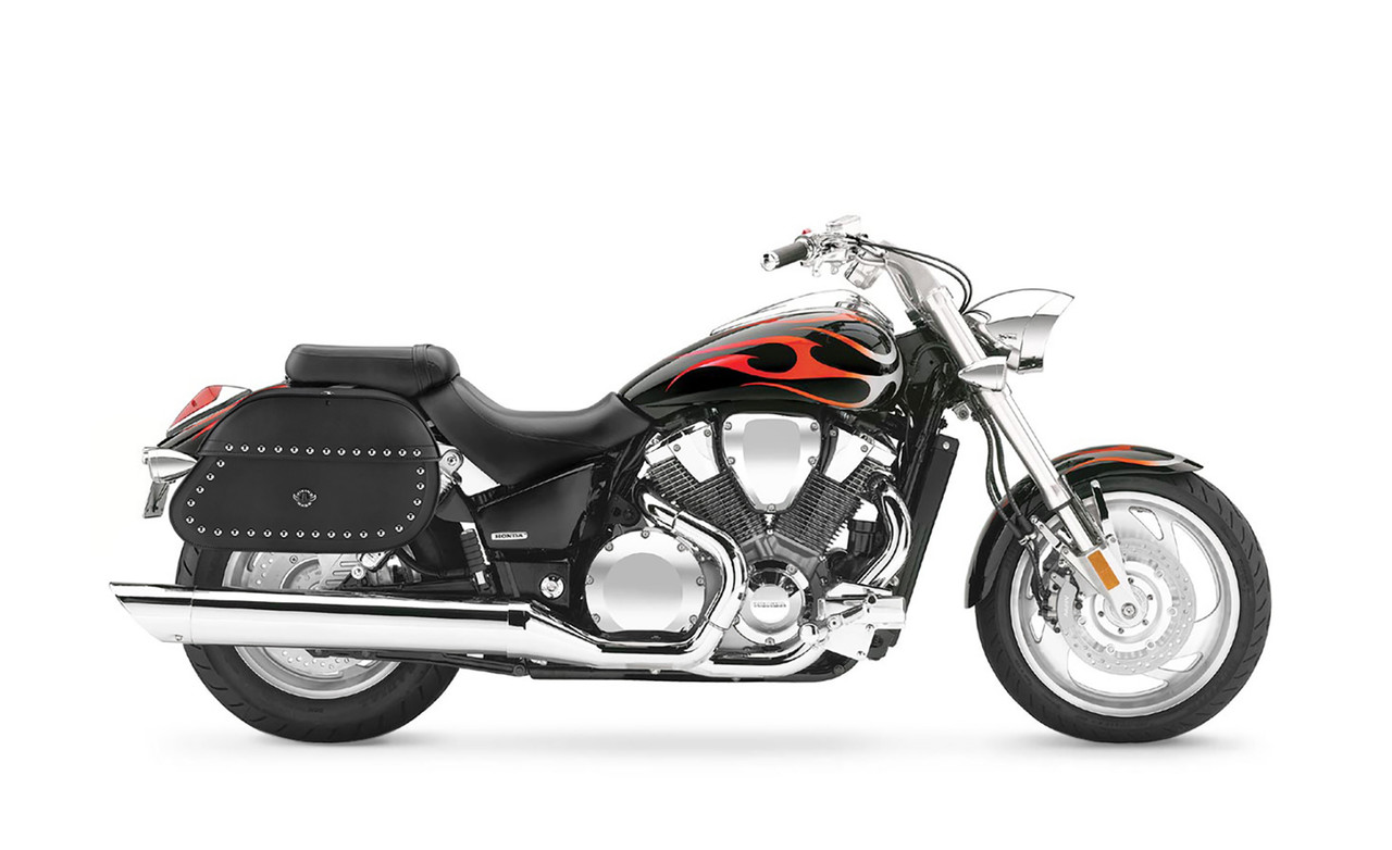 Honda VTX 1800 C Hammer Series Extra Large Studded Motorcycle Saddlebags Bag On Bike View