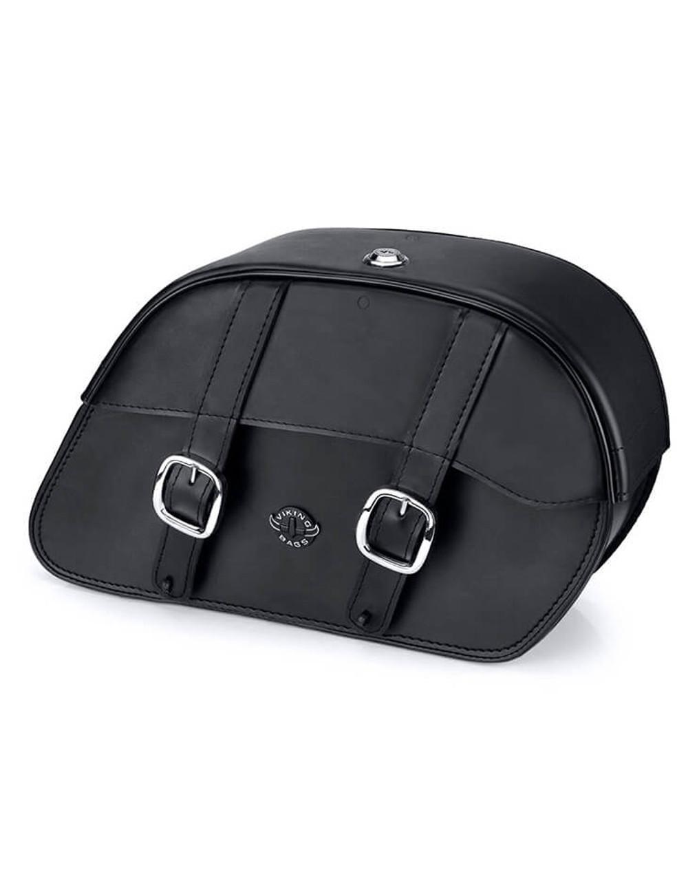 Honda 1500 Valkyrie Interstate Vikingbags Shock Cutout Slanted Large Leather Motorcycle Saddlebags Main Bag View