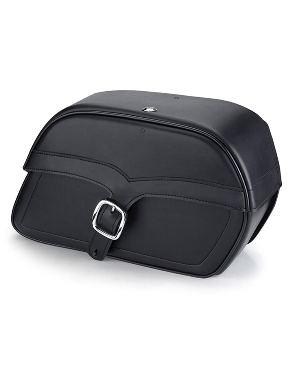 Honda 1500 Valkyrie Interstate Vikingbags Shock Cutout Single Strap Large Slanted Leather Motorcycle Saddlebags Main Bag View