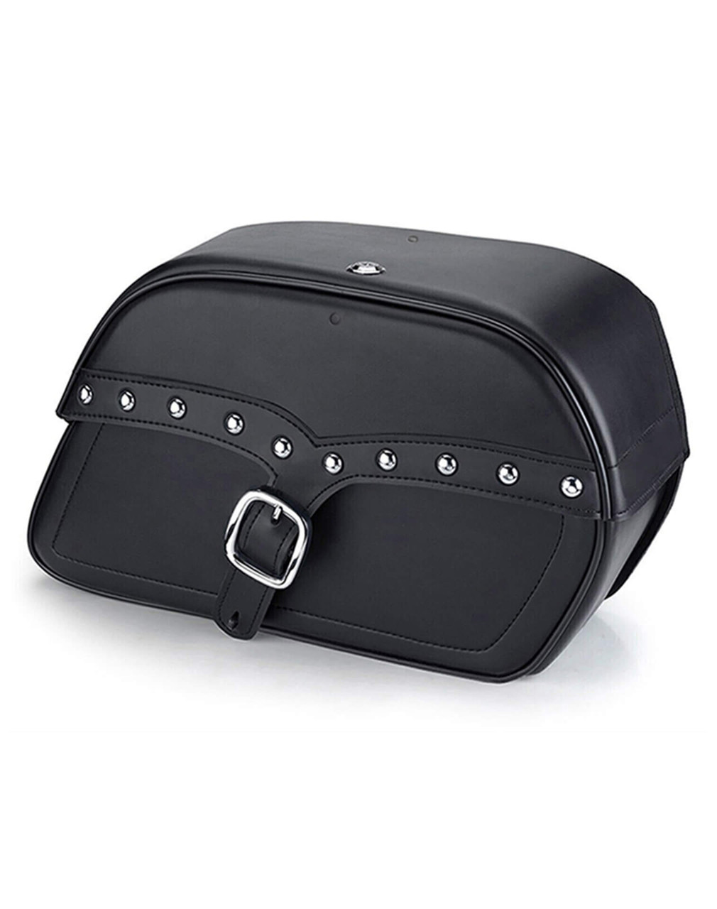Honda 1500 Valkyrie Interstate Vikingbags Shock Cutout Single Strap Large Slanted Studded Leather Motorcycle Saddlebags Main Bag View