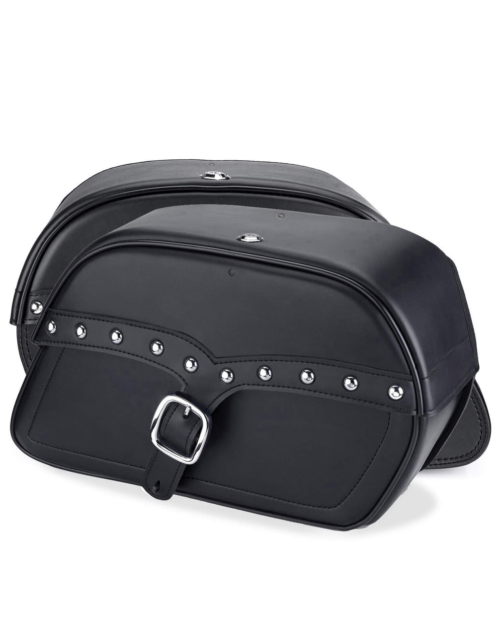 Honda 1500 Valkyrie Interstate Vikingbags Shock Cutout Single Strap Large Slanted Studded Leather Motorcycle Saddlebags Both Bags View