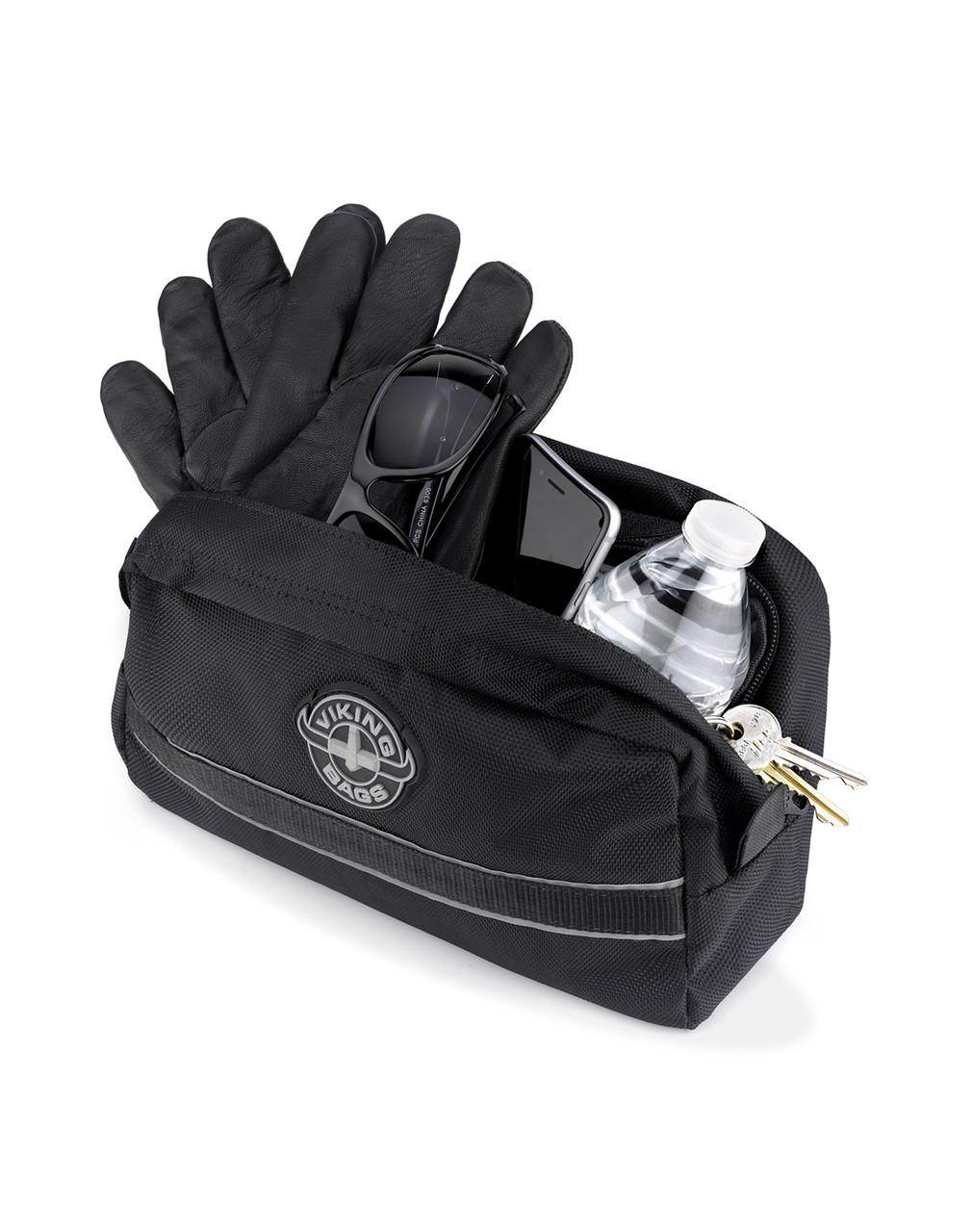 Viking Small Black Dirt Bike/Enduro Handleber Bag Storage View