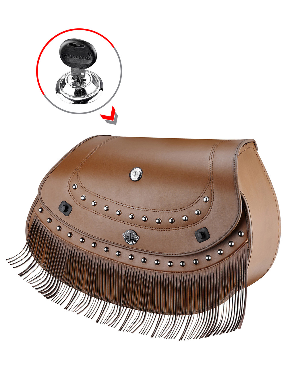 Indian Chief Classic Viking Indian Specific Brown Leather Motorcycle Saddlebags Key Lock View
