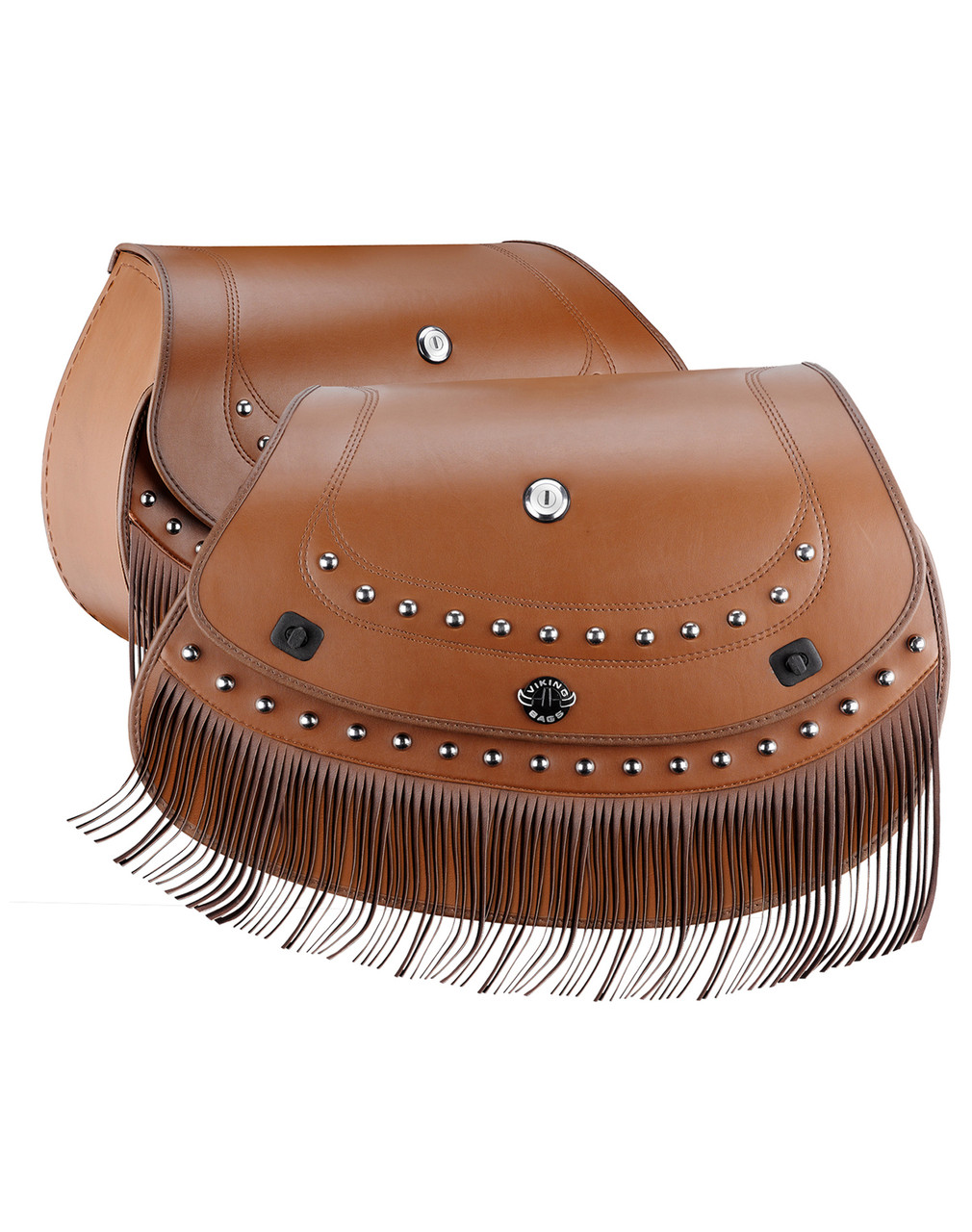 Indian Chief Classic Viking Indian Specific Brown Leather Motorcycle Saddlebags Both Bags View
