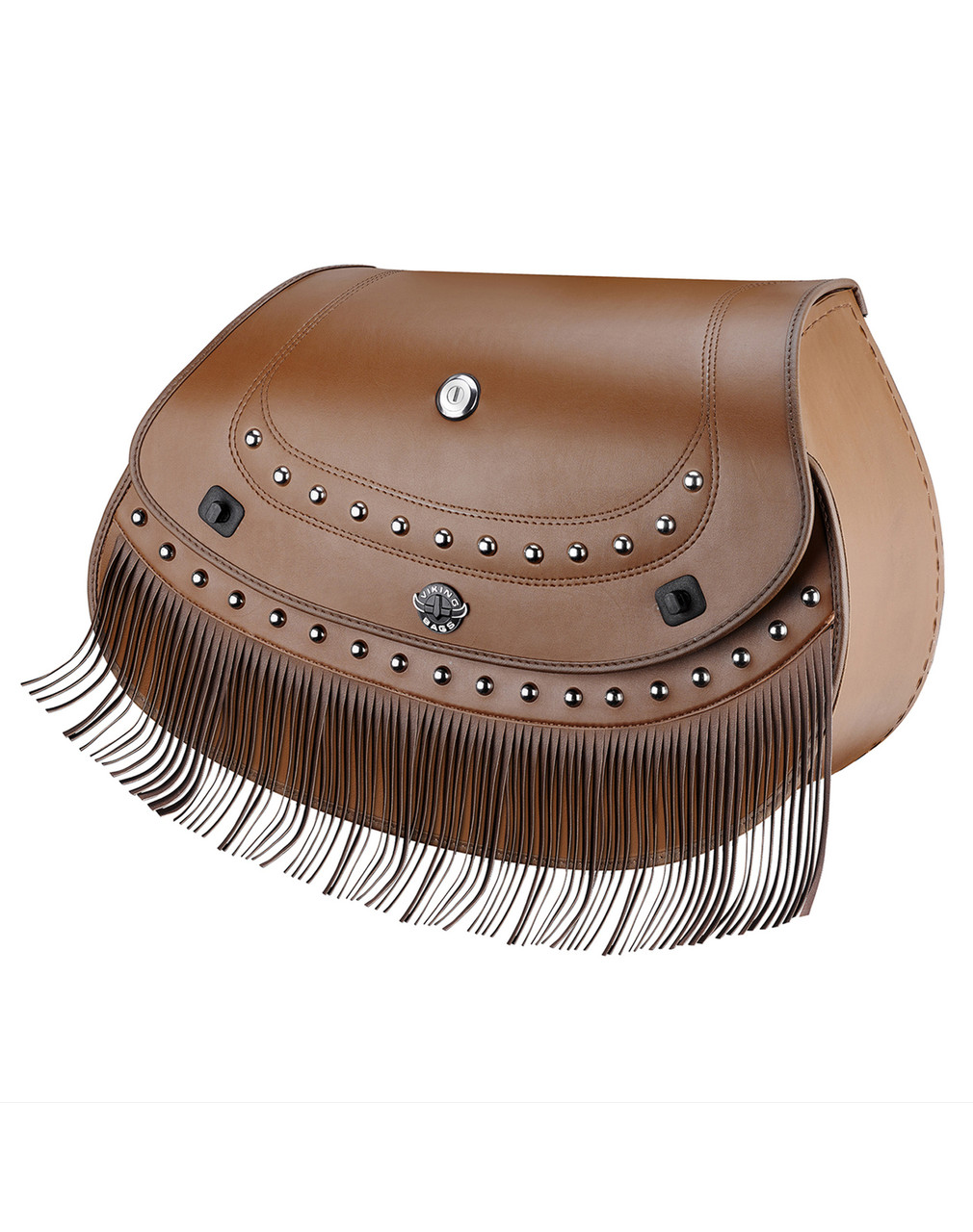 Indian Chief Classic Viking Indian Specific Brown Leather Motorcycle Saddlebags Main Bag View