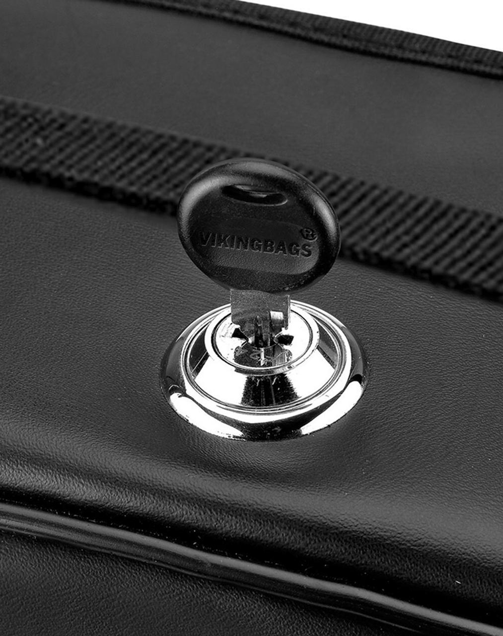 Triumph Rocket III Roadster Viking Armor Shock Cutout Studded Motorcycle Saddlebags Key Lock View