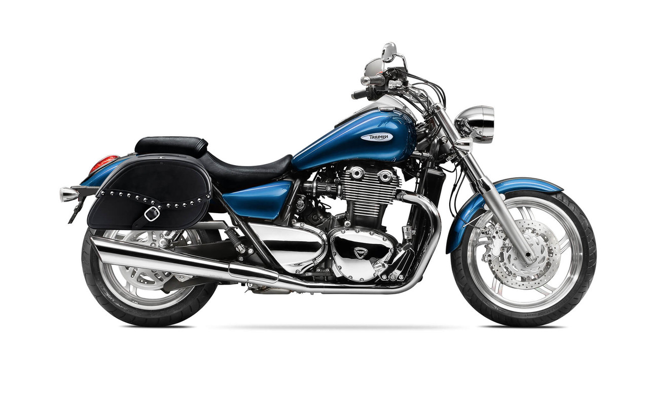 Triumph Thunderbird Viking Armor Shock Cutout Studded Motorcycle Saddlebags Bag On Bike View