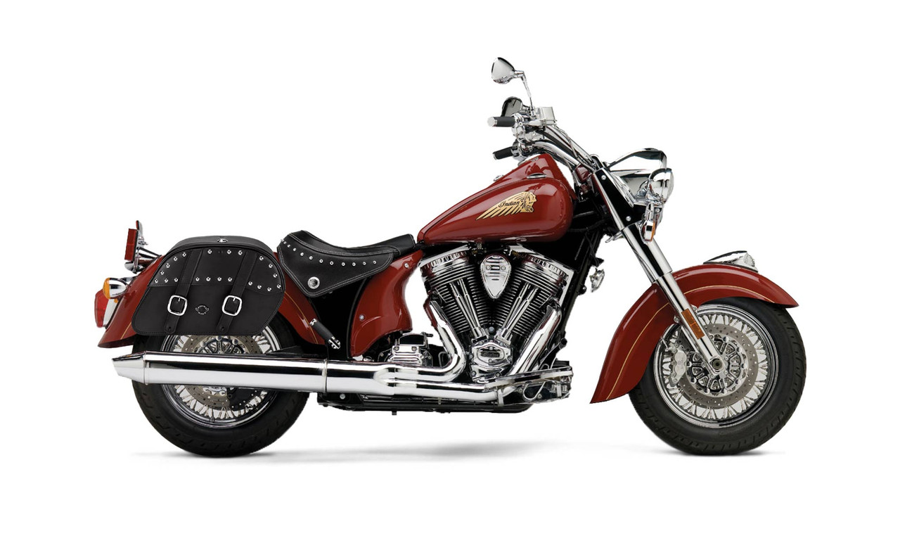 Indian Chief Standard Charger Slanted Studded Medium Motorcycle Saddlebags Bag On Bike View
