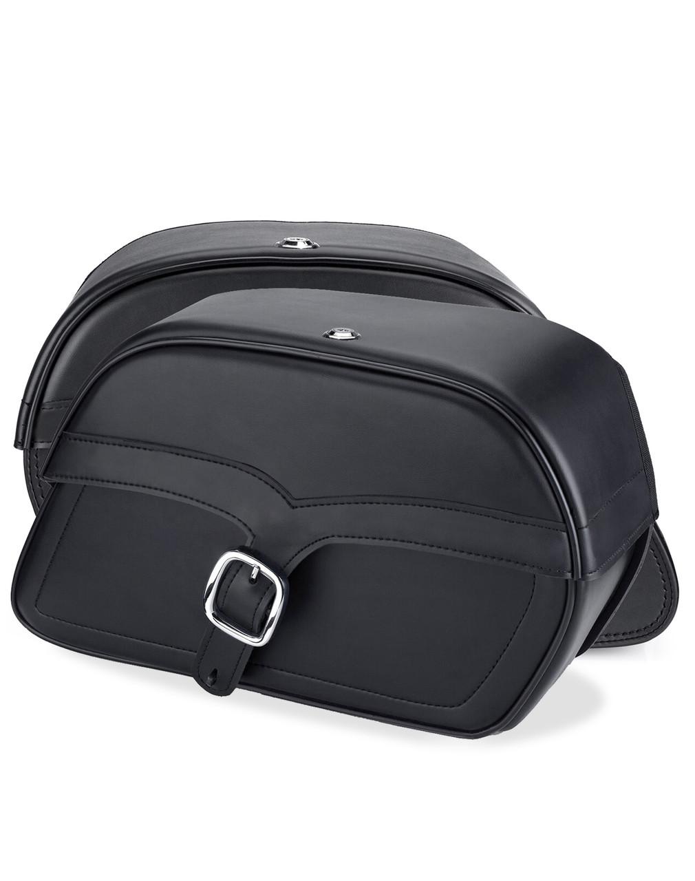 Honda Rebel 500 Single Strap Shock Cutout Slanted Large Motorcycle Saddlebags Both Bags View