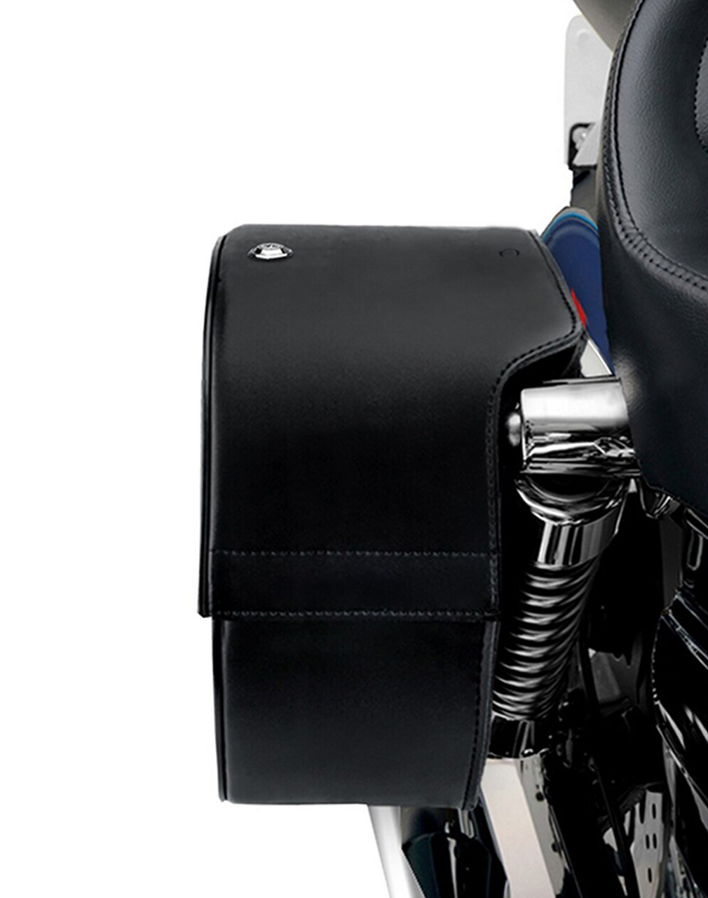 Honda Rebel 500 Single Strap Shock Cutout Slanted Large Motorcycle Saddlebags Shock Cutout View
