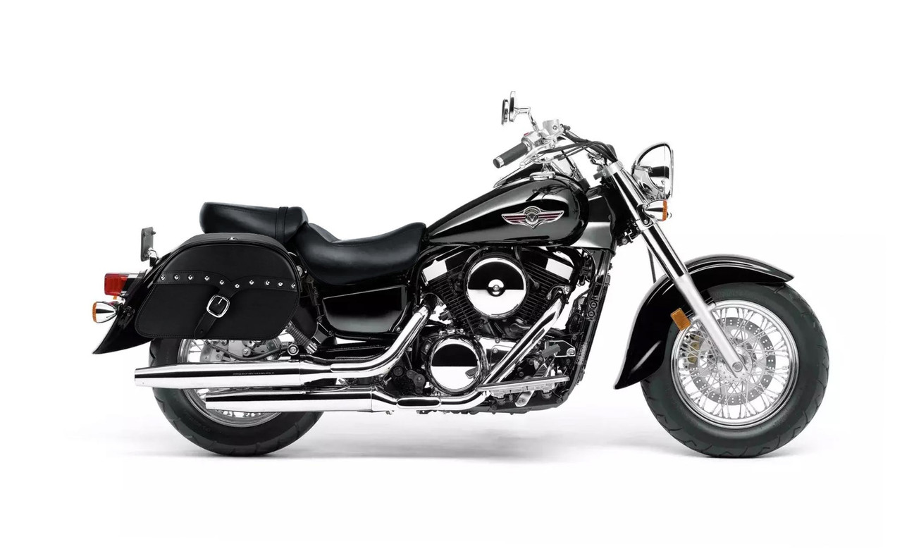 Kawasaki Vulcan 1500 Classic SS Vikingcycle Shock Cutout Slanted Studded Large Motorcycle Saddlebags Bag On Bike View