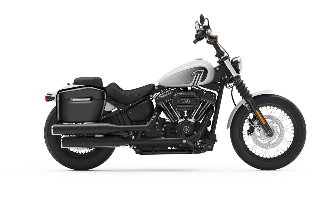 Viking Lamellar Large Black Hard Saddlebags For Harley Softail Street Bob Bag on Bike View