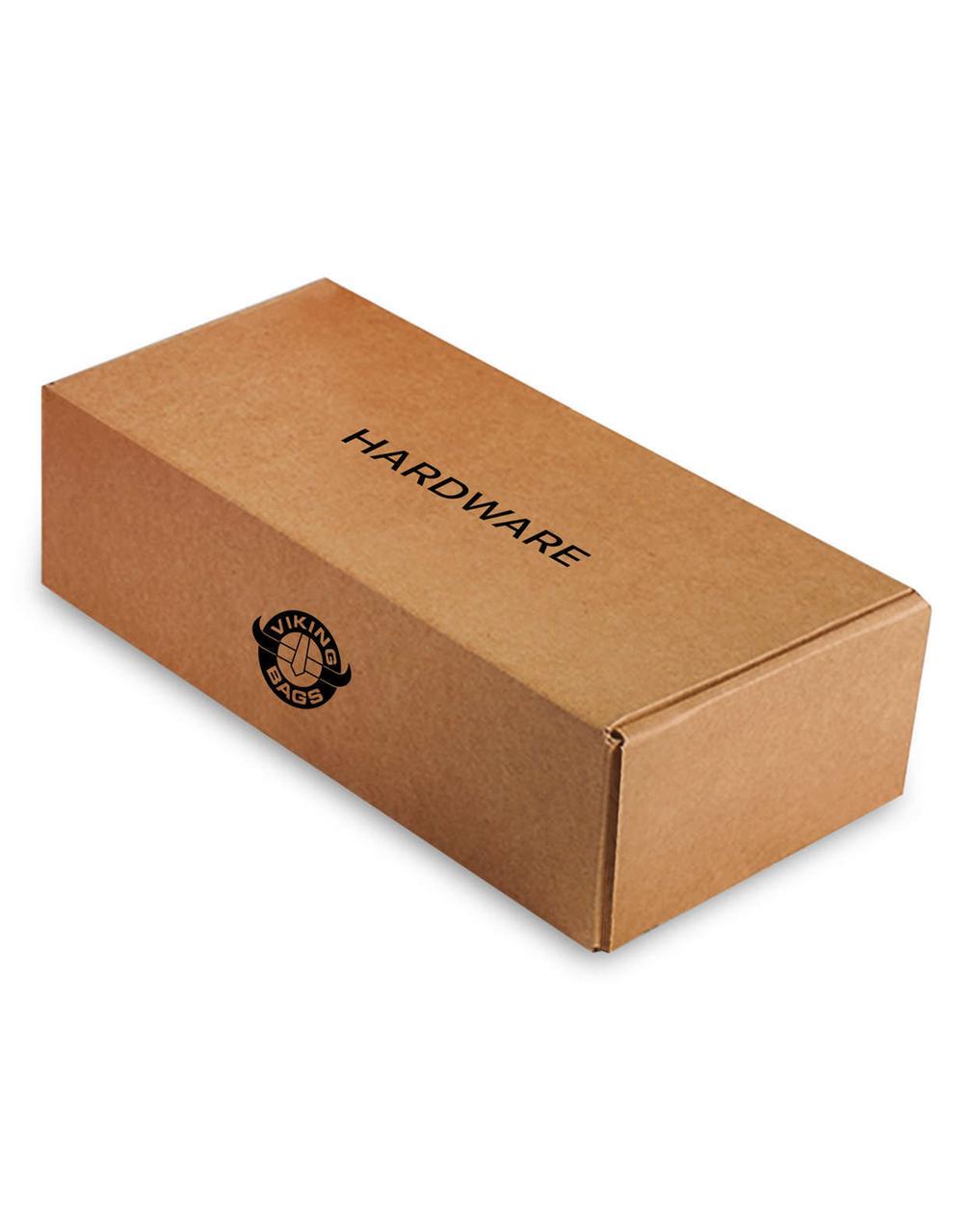 Viking Lamellar Large Leather Covered Non-Shock Cutout Hard Saddlebags For Harley Softail Custom FXSTC Hardware Box