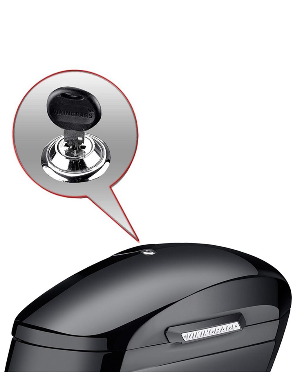 Yamaha V Star 650 Custom, XVS65T Viking Lamellar Extra Large Painted Non-Shock Cutout Saddlebags Key Lock View