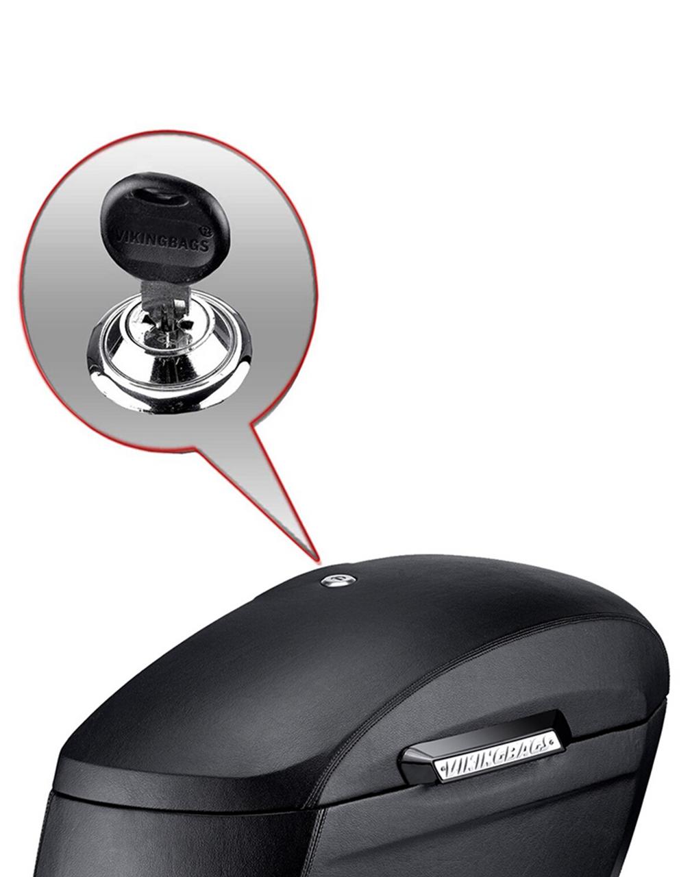 Yamaha V Star 950 Viking Lamellar Extra Large Leather Covered Non-Shock Cutout Saddlebags Key Lockable View