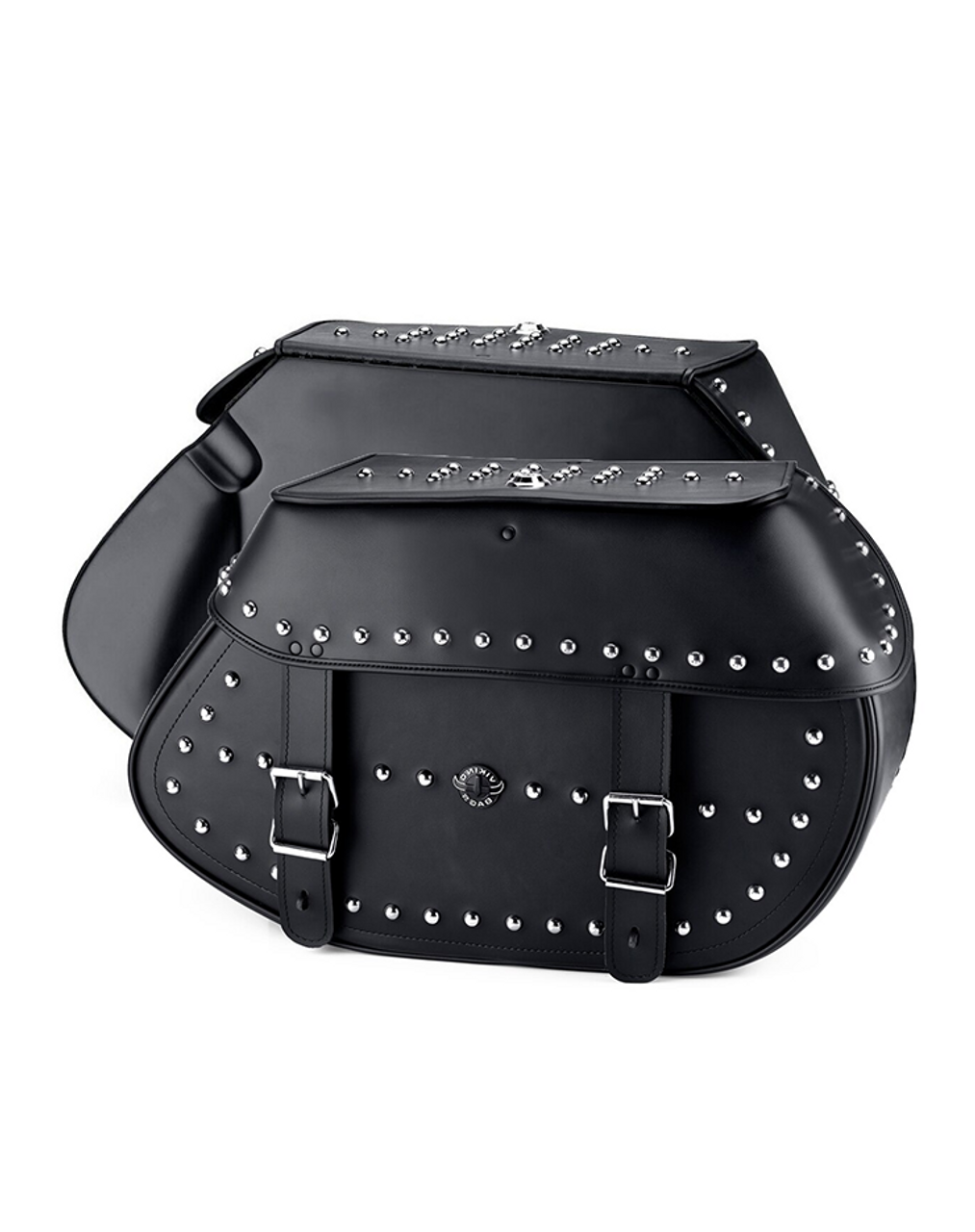 Viking Specific Studded Extra Large Saddlebags For Harley Softail Springer FXSTS Both Bags View