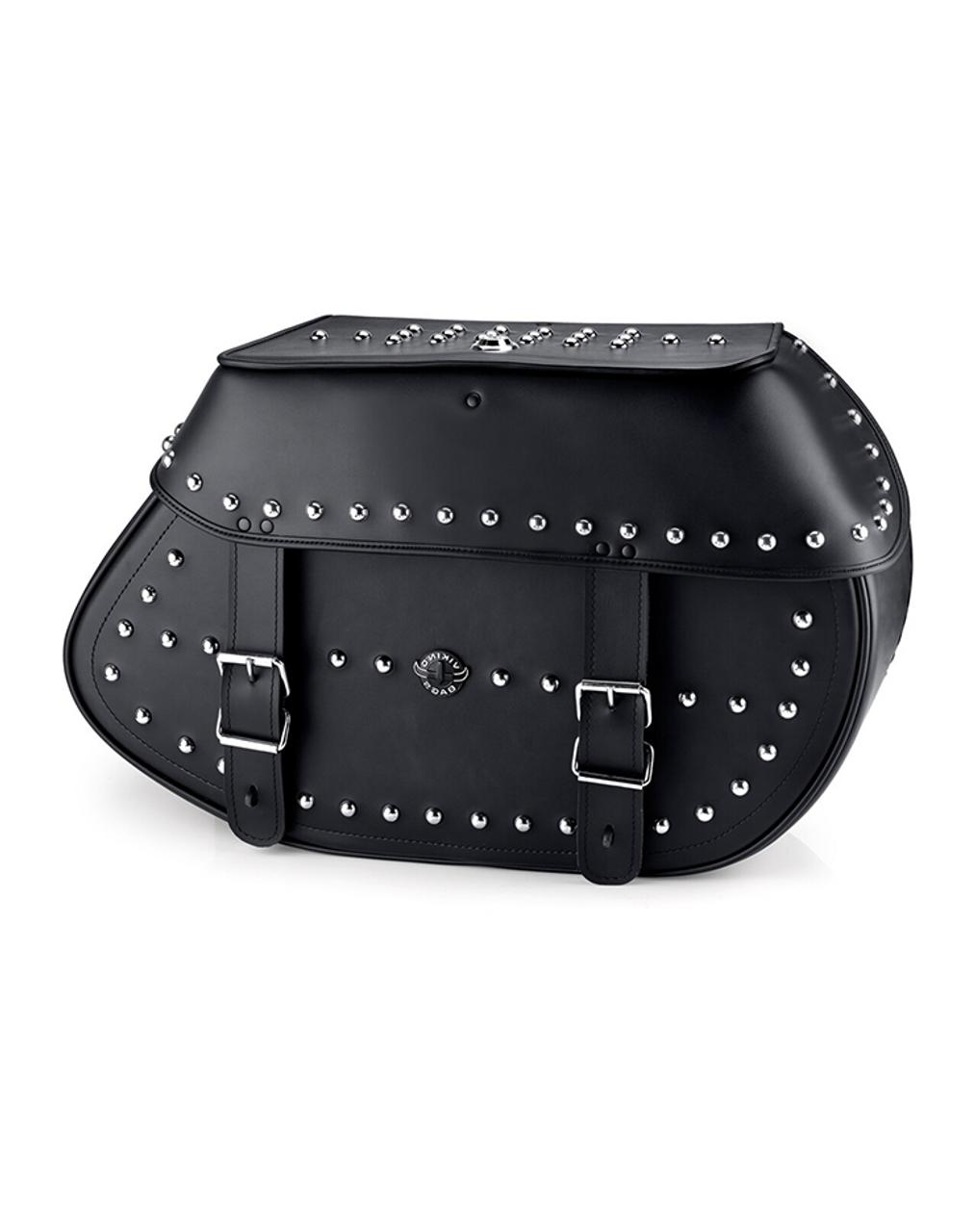 Viking Specific Studded Extra Large Saddlebags For Harley Softail Custom FXSTC Main Bag