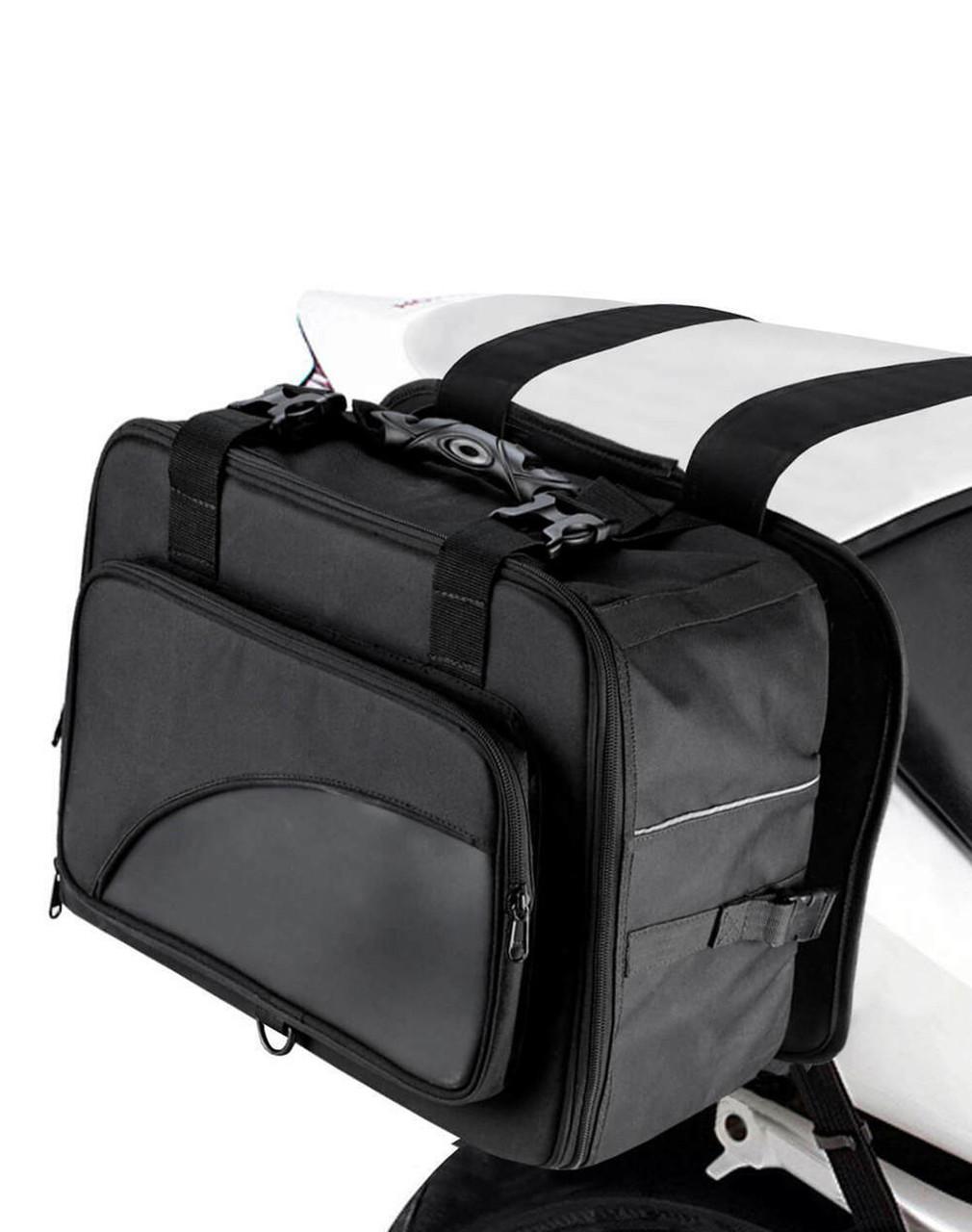 Viking Extra Large Black Street/Sportbike Saddlebag Bag on Bike Side View