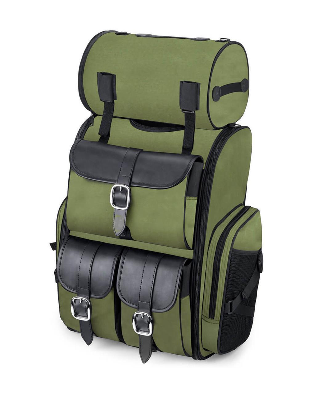 Viking Extra Large Plain Green Motorcycle Sissy Bar Bag For Harley Davidson Main view