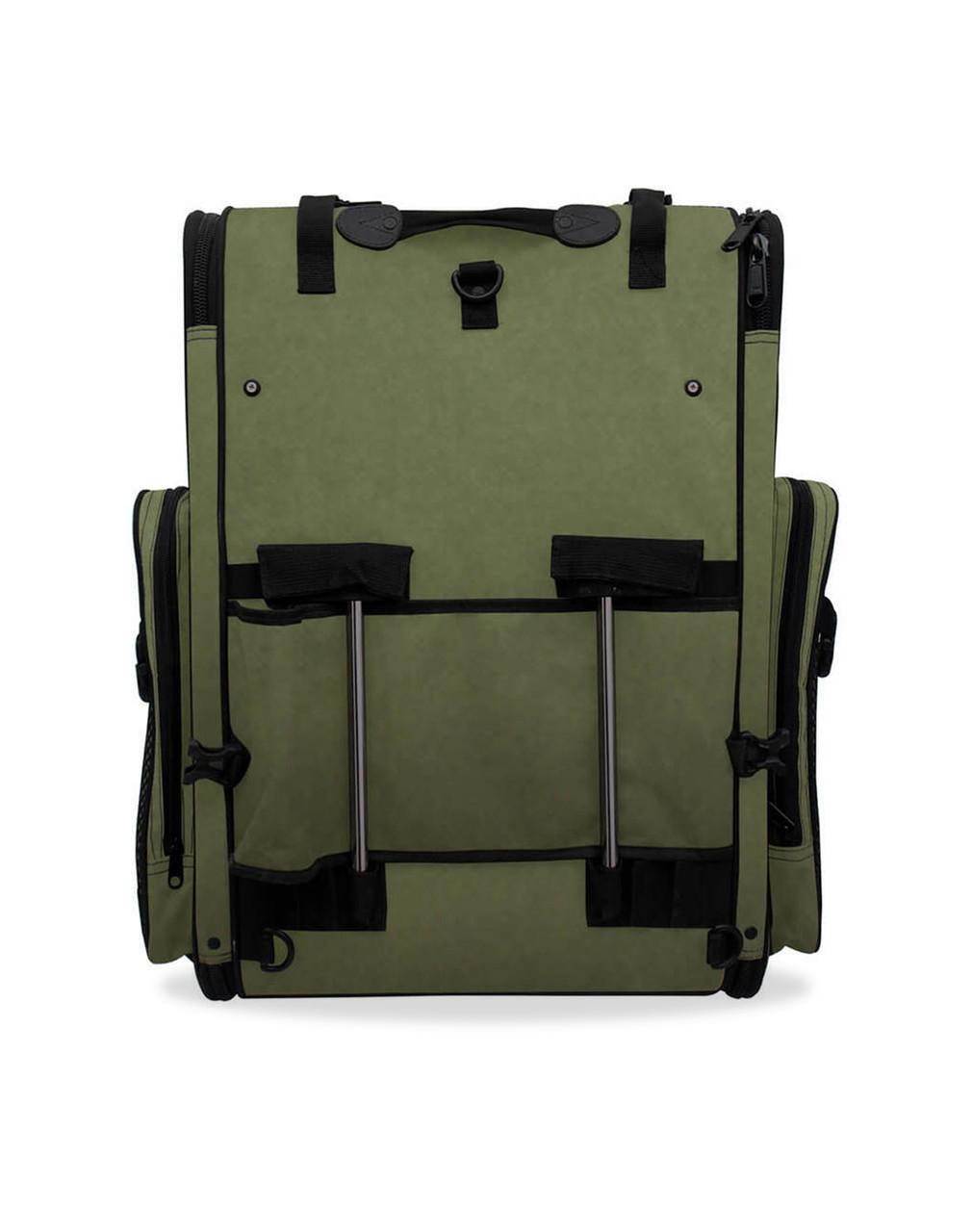 Viking Extra Large Plain Green Motorcycle Sissy Bar Bag For Harley Davidson back Side View