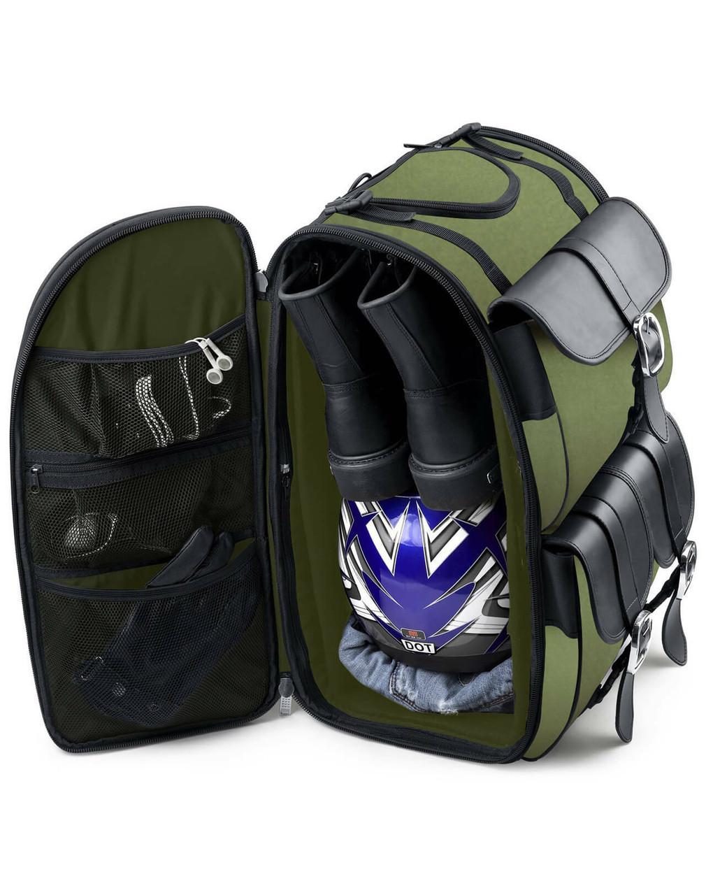 Viking Extra Large Plain Green Motorcycle Sissy Bar Bag For Harley Davidson Storage View