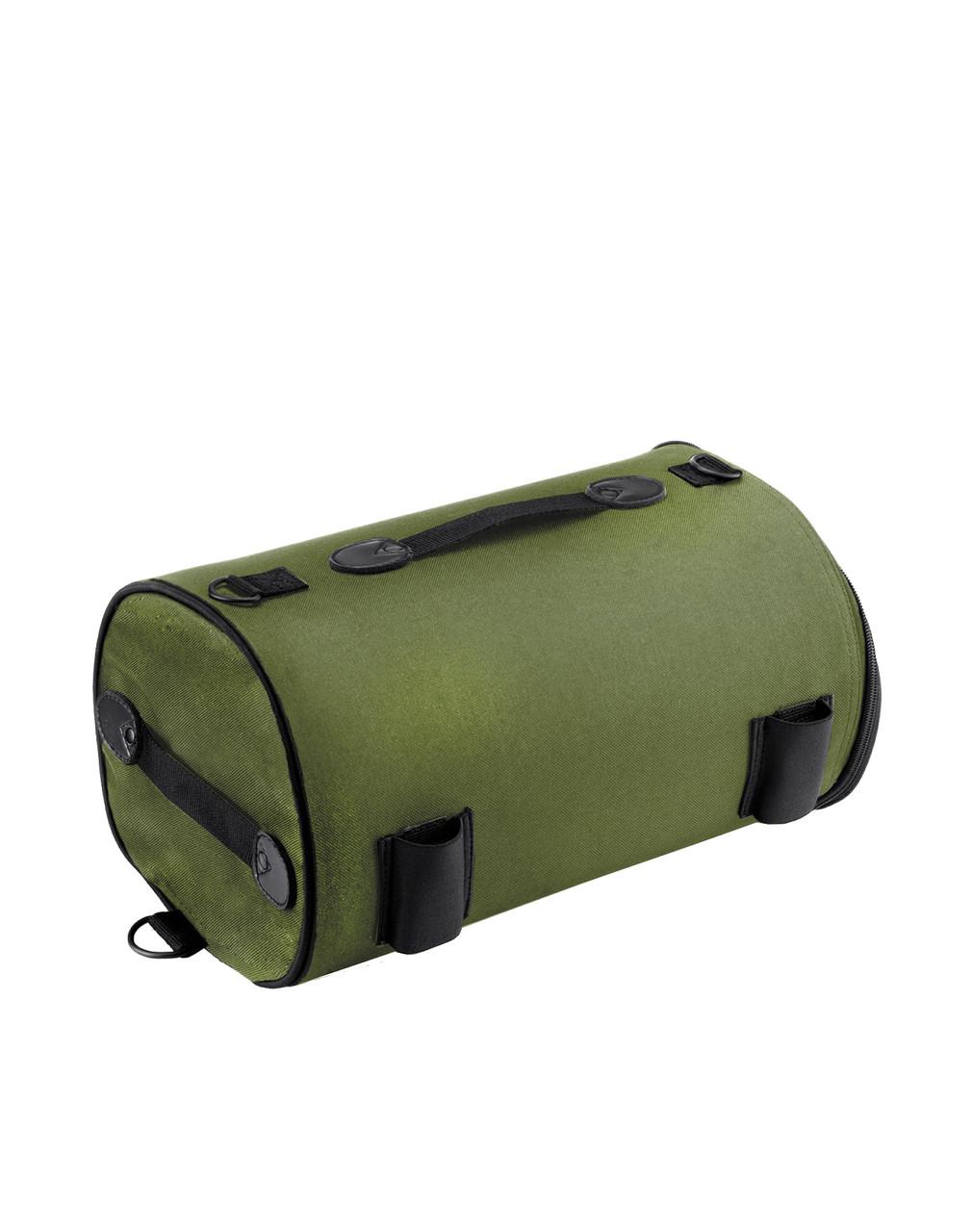 Kawasaki Viking Extra Large Studded Green Motorcycle Sissy Bar Bag Roll Bag