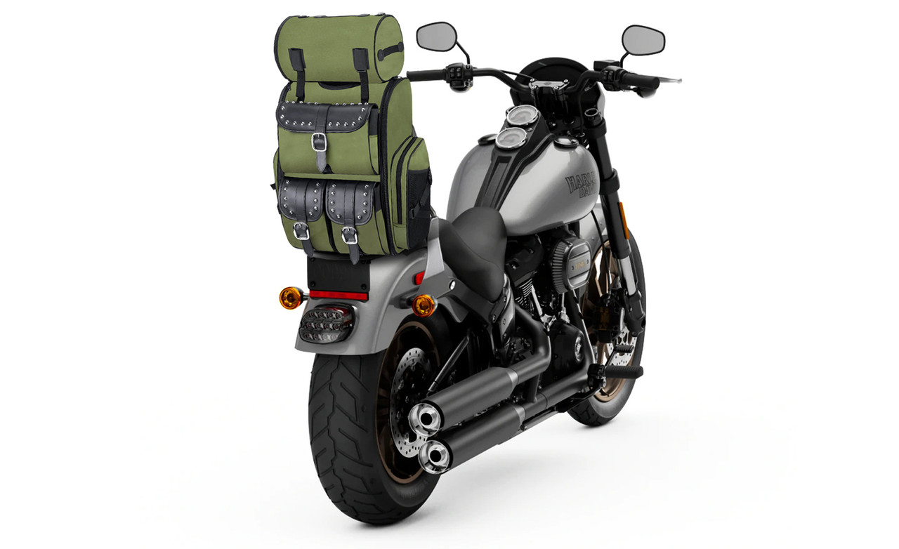 Triumph Viking Extra Large Studded Green Motorcycle Sissy Bar Bag on Bike View