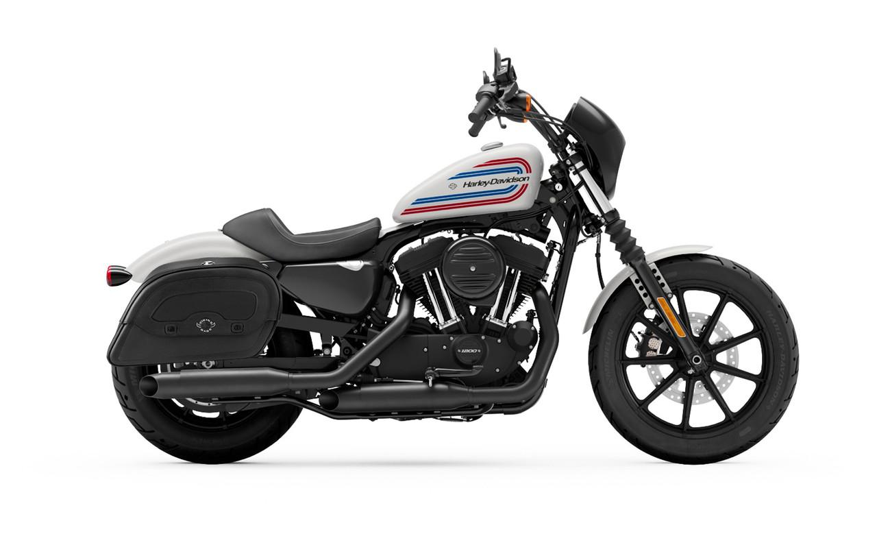 Viking Large Shock Cutout Warrior Slanted Motorcycle Saddlebags For Harley Sportster Iron 1200 Bag on bike view