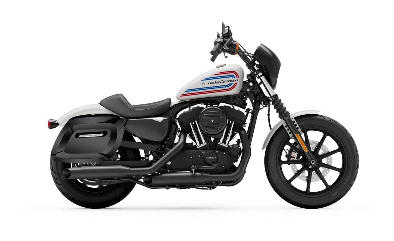 Viking Lamellar Large Spear Shock Cutout Hard Saddlebags For Harley Sportster Iron 1200 Bag on bike view