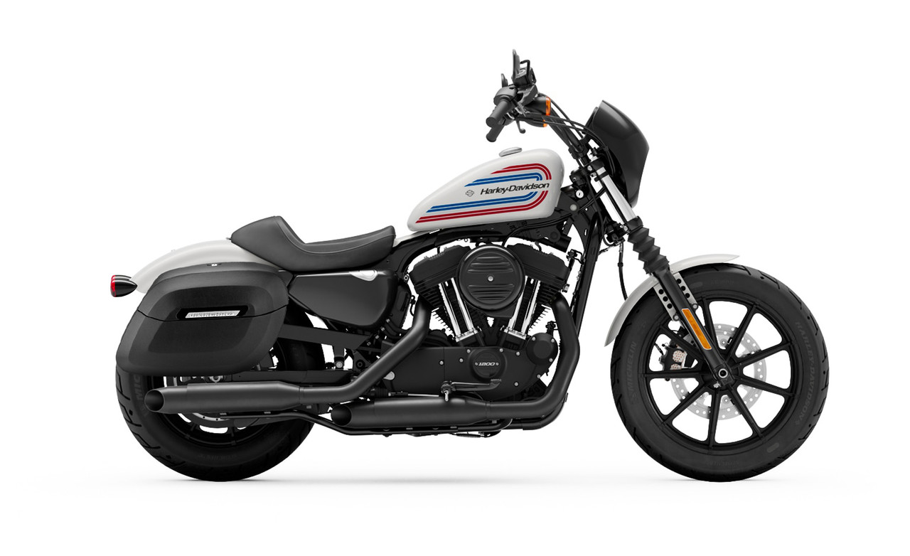 Viking Lamellar Leather Covered Shock Cutout Hard Saddlebags For Harley Sportster Iron 1200 Bag on bike view